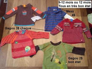 Vêtements bébé garçon 9-12 mois ou 12 mois