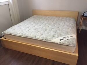 IKEA Malm King bed frame and pillow top comfortable Mattress