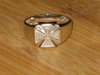 PRICE REDUCED: 10k white gold & 4 diamond ring, size 10.50
