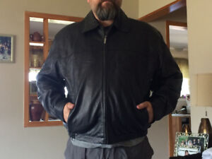 Brand New Men's Black Leather Jacket - Size XL