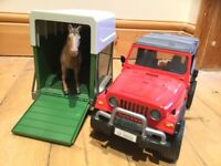Bruder Jeeps, recovery truck and horsebox - excellent toys £5 each