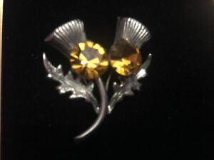 Ward brothers double  Scottish thistle sterling pin WBS brooch