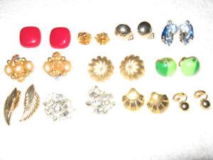 Vintage Clip on Earrings ( 40's - 50's - 60's - 70's )