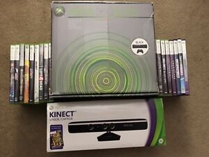 CLEAR CASE AND BLUE LED XBOX 360  120GB KINECT AND 17 GAMES