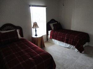 Two twin beds wicker headboards