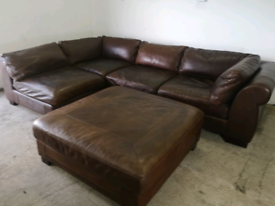 Large real brown leather corner sofa and footstool 🚚🚚