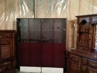 display cabinets and wine hutch with base cabinet