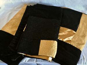 Three Black and Gold curtain panels