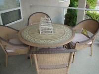Outdoor Wicker Table, Chairs, Cushions and Matching Umbrella