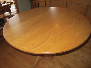 """SOLID OAK PEDESTAL DINING TABLE 42"""" ROUND"""