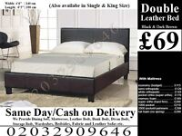 Strong PU Leather Frame Double Single Bedding Black Brown Bridgeport