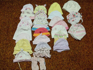 26 PCS. ASSORTED BABY HATS, 1 PAIR OF BABY MITTS