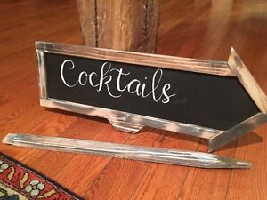 Wedding or Event outdoor arrow signs wood chalkboard mirror