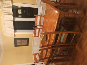 Solid wood dining room table and buffet & hutch