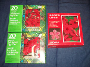 Vintage Poinsettia Christmas mini light sets, treetop & candles