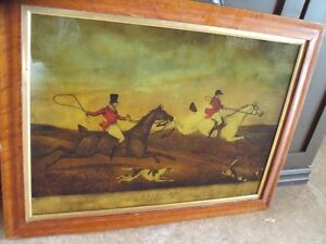 reduced ANTIQUE REVERSE PAINTING ON GLASS FOX HUNT FULL CRY