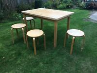 Dining/ kitchen table and 4 stools