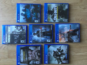 7 ps4 games for sale from 10$ to 50$ each all in mint condition