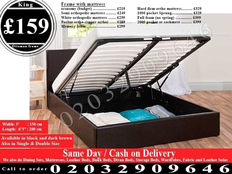 STRONG PU Leather Storage Frame Double King, Single Bedding Black Brown Raynhamin Ealing, LondonGumtree - We sell best quality furniture including Leather beds , Crushed Velvet beds, Storage Beds , Contact now and we will help you with best and cheapest product we have