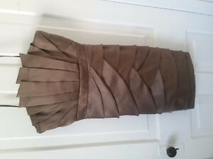 Badgley Mischka taupe origami strapless dress size 10