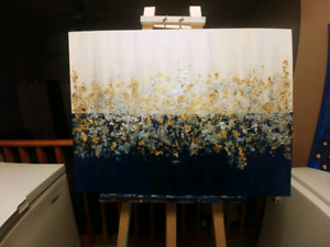 WHITE AND NAVY BLUE ABSTRACT PAINTING