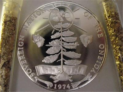 1-OZ. ONEIDA AMERICAN NATIVE INDIAN TRIBAL NATIONS ART COIN SILVER.999 + GOLD