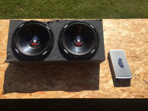 """2 boss15"""" 2500w subwoofers with 4000w amp"""