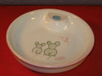 Vintage Baby Food Warmer Bowl with stopper and Picture Two Mice