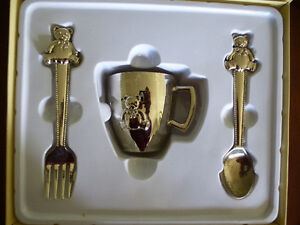 Vintage Beverly Clark Silver Collection Baby Set First Cup Spoon