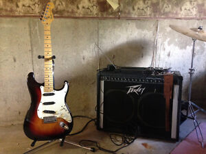 Electric guitar, drum set and a electric organ
