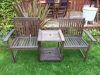 Bench table and chairs set love seat garden patio furniture
