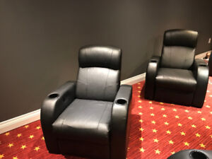 HOME THEATRE RECLINING CHAIRS - BLACK LEATHER