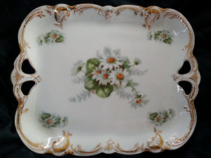 P.K. SILESIA Victorian 1890 POTTERY TRAY Floral Antique