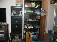 Two display cabinets; one book shelf - 30.00 each