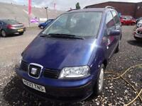 SEAT ALHAMBRA 1.8T 20v TURBO~Y'2001~MANUAL~7 SEATER~METALLIC BLUE~JUST 90k