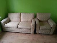 sofa bed + armchair