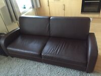 Brown leather sofa in Kentish Town looking for a new home!