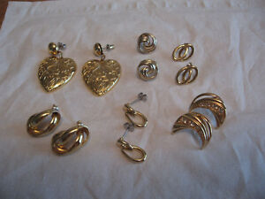 6 PAIRS OF 1970'S GOLD TONE EARRINGS