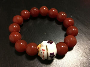 Fire Agate stone mala beads with lucky cat symbol