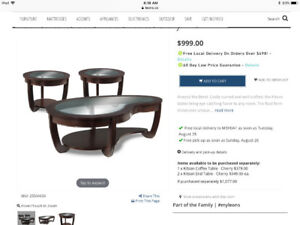 Beautiful Coffee and end tables set - must sell