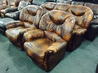 Free delivery 🎅 tan leather 3 11 sofa set