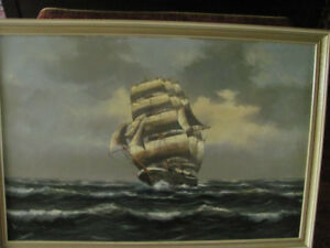 Large Clipper ship painted in oil