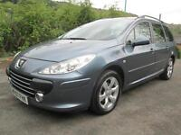 07/07 PEUGEOT 307 1.6 SW ESTATE IN MET GREY WITH ONLY 66,000 MILES