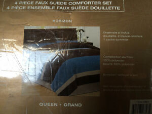 4 Piece Faux Suede Comforter Set