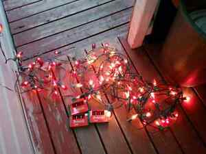 3 x 25 ft of x-mas lights 3 pks of x-tra bulbs $5.00 FOR ALL