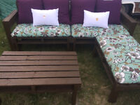 Handmade pallet patio sets with cushions!