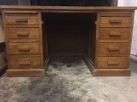 Large vintage solid oak leather top pedestal desk