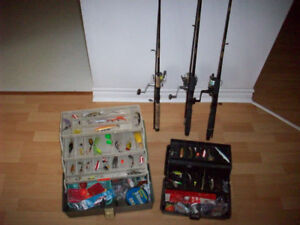 FISHING GEAR  --  TACKLE BOX /  LURES  /  ROD AND REEL