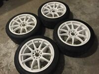 "17"" Gloss White Koya CR Tek Wheels With New Tires"