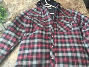 MEN'S PLAID HOODED QUILTED FLANNEL WORK SHIRT SIZE M